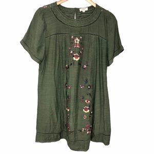 Umgee Women's Boho Floral Embroidered Dress Size L